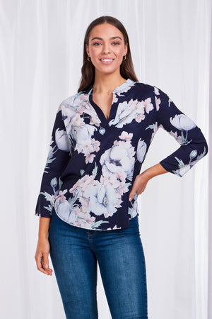 Floral Mandarin Collar Top