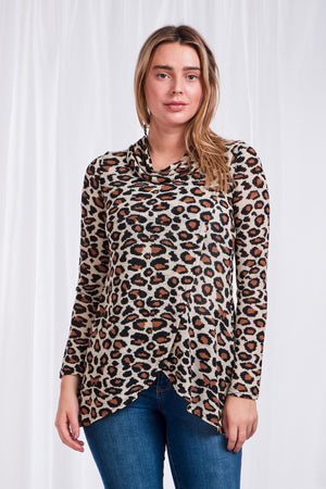 Cowl Neck Crossover Leopard Print Top
