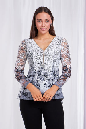 Zip Front Printed Lace Peplum Top