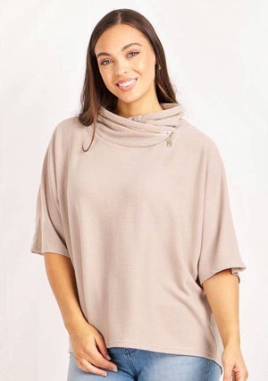 Zip Detail 3/4 Sleeve Cowl Neck Top