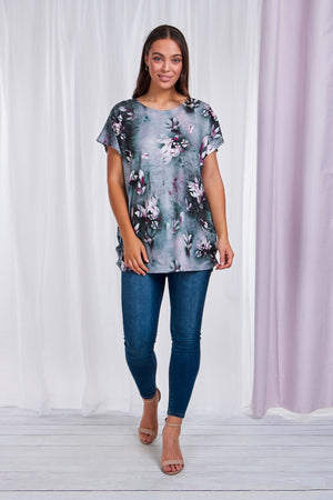 Short Sleeve Floral Printed Stretch Top