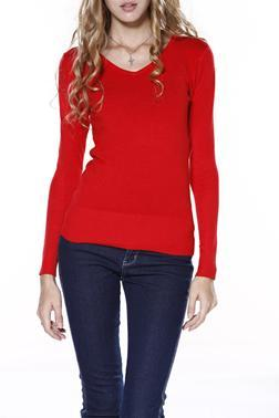 V-Neck Long Sleeve Basic Jumper