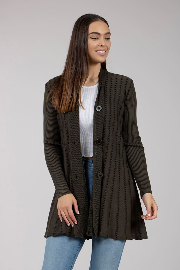 Long Button Front Knit Cardigan