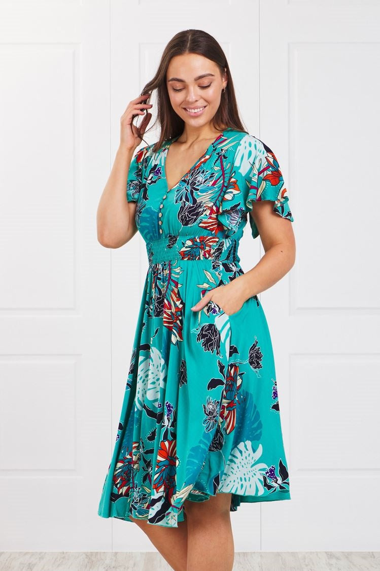 TROPICAL PRINT MIDI DRESS