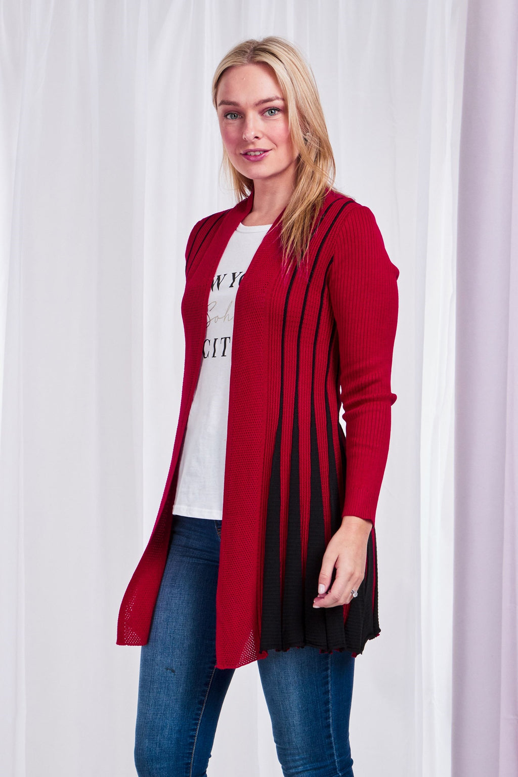 Longline Two Tone Knit Cardigan