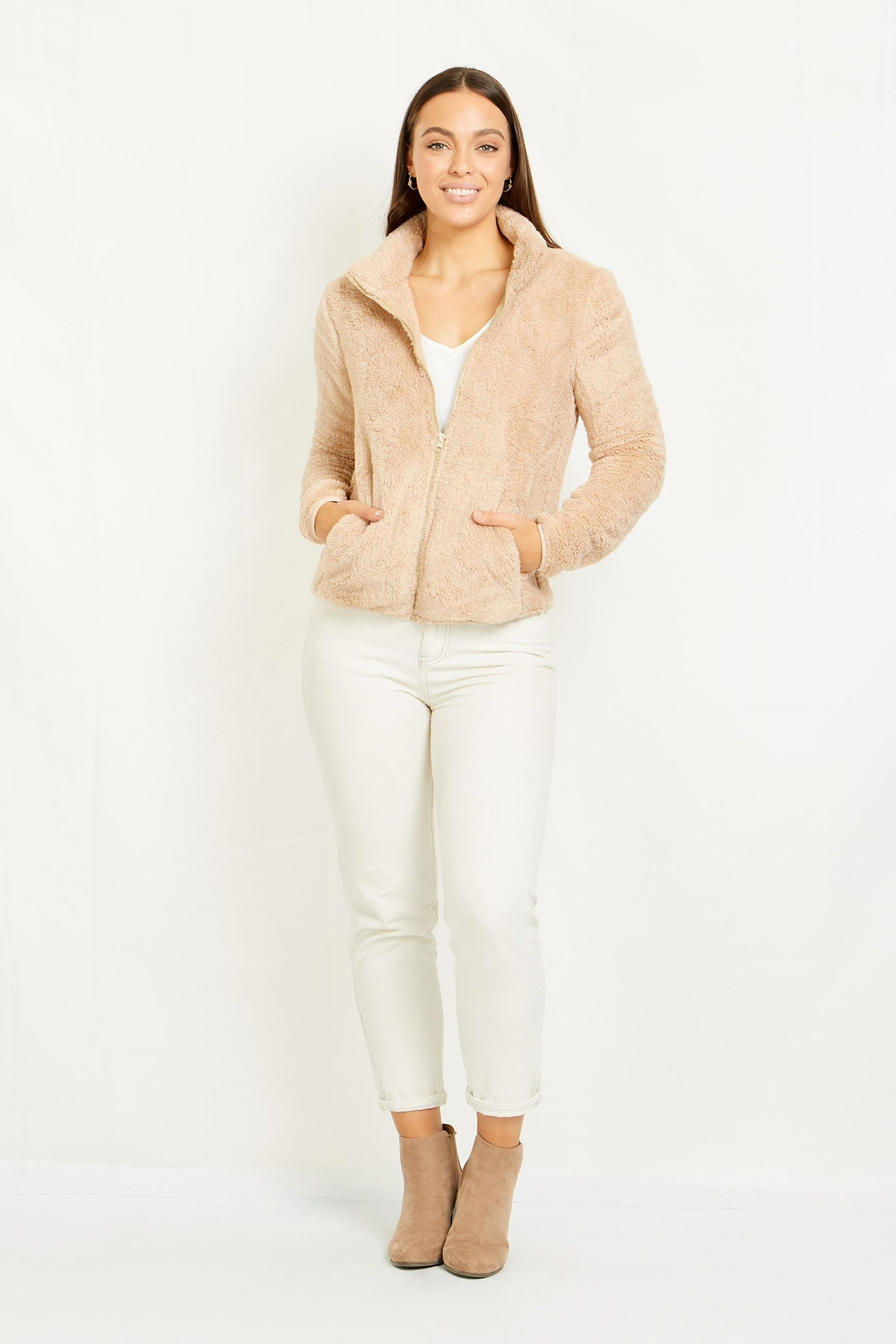Short Fleece Zip Up Jacket