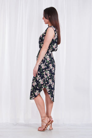ZIP NECK FLORAL DRESS