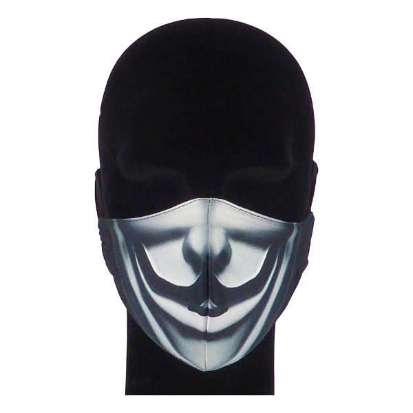 King Cobra Store 100% polyester mouth and face mask protection against dust pollen pollution or airborne covid 19 corona viruses elastic straps comfortable breathing and wearing reusable washable inspired by Anonymous international activist hacktivist collective movement cyber attacks computer hacking V for Vendetta film movie political action film Hugo Weaving V masked man