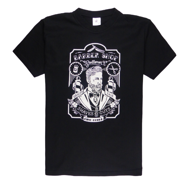 Cotton short sleeve man T-shirt in black color with a unique King Cobra Store design inspired by barber shop tattoo tattoo male hairdresser