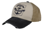 Load image into Gallery viewer, King Cobra Store Baseball cap rounded curved visor with vintage destroyed look brim in red blue grey beige 5 panel with seamless front panel printed anchor original maritime design logo medium high shape adjustable metal buckle to fit all one size 100% soft touch cotton