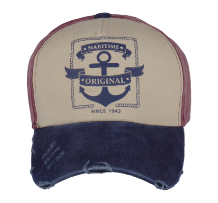 King Cobra Store Baseball cap rounded curved visor with vintage destroyed look brim in red blue grey beige 5 panel with seamless front panel printed anchor original maritime design logo medium high shape adjustable metal buckle to fit all one size 100% soft touch cotton