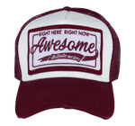 Load image into Gallery viewer, King Cobra Store Baseball cap rounded curved visor brim in bordeaux wine burgundy navy stitched eyelets 5 panel high structured front label mesh back mesh sides adjustable PVC closure to fit all one size stitched square logo patch with embroidery awesome right here right now tribute est 2002