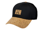 Load image into Gallery viewer, King Cobra Store Baseball cap carbon 212 rounded curved visor brim in cork and black stitched eyelets 6 panel medium high shape front panel with cork logo adjustable metal buckle closure to fit all one size square cork CRBN patch logo