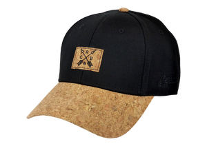 King Cobra Store Baseball cap carbon 212 rounded curved visor brim in cork and black stitched eyelets 6 panel medium high shape front panel with cork logo adjustable metal buckle closure to fit all one size square cork CRBN patch logo