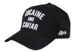 Load image into Gallery viewer, King Cobra Store Baseball cap carbon 212 rounded curved visor brim in black stitched eyelets 5 panel with seamless front medium high shape adjustable metal buckle closure to fit all one size embroidered white logo text cocaine and caviar