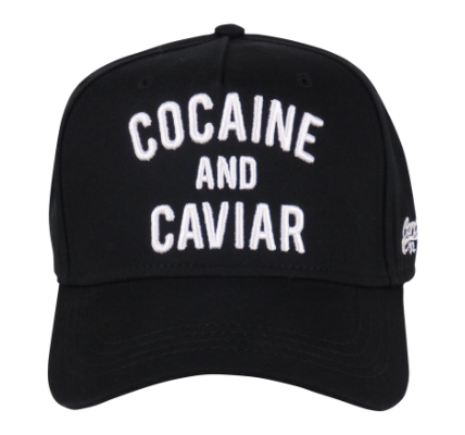 King Cobra Store Baseball cap carbon 212 rounded curved visor brim in black stitched eyelets 5 panel with seamless front medium high shape adjustable metal buckle closure to fit all one size embroidered white logo text cocaine and caviar