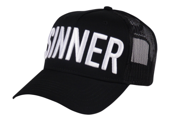King Cobra Store Baseball cap Carbon 212 rounded curved visor brim in black stitched eyelets 5 panel high shape structured front label mesh back mesh sides adjustable PVC closure to fit all one size embroidered white logo text Sinner
