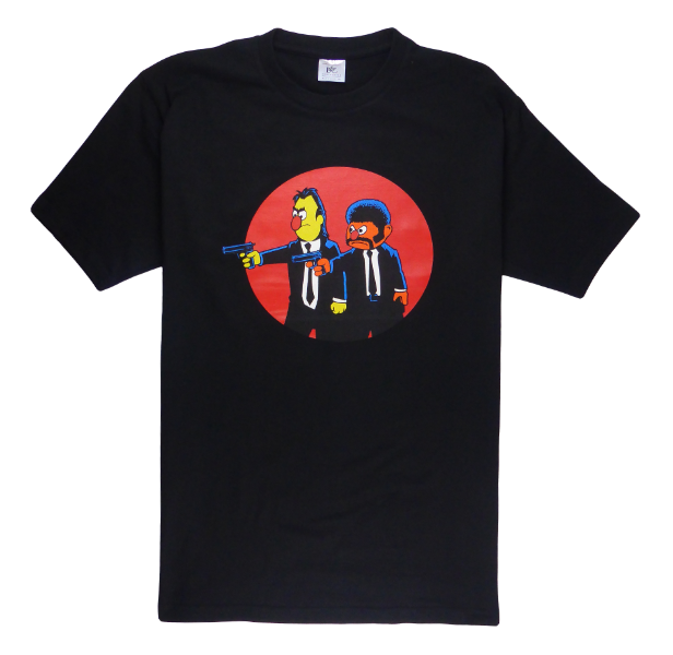 Cotton short sleeve man T-shirt in black color with a unique King Cobra Store design inspired by Sesame Street Bert and Ernie Pulp Fiction movie by Quentin Tarantino