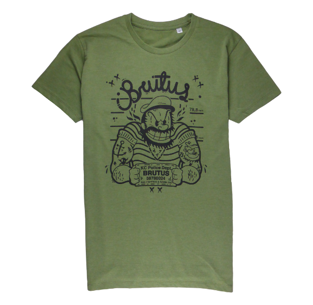 Cotton short sleeve man T-shirt in Khaki color with a unique King Cobra Store design inspired by mugshot tattoos Brutus Popeye Olive cartoon