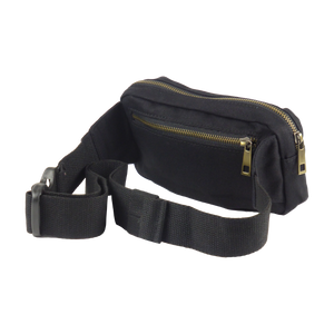 King Cobra Store black cotton canvas heuptas buideltas bumbag or fanny pack with 3 compartments zip closure inner zipped pocket adjustable strap or belt to wear around the hip cross body or over the shoulder a festival must-have