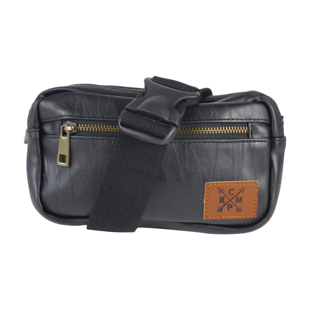 King Cobra Store black faux leather look heuptas buideltas bumbag fanny pack with 3 compartments zip closure inner zipped pocket adjustable strap or belt to wear around the hip cross body or over the shoulder a festival must-have