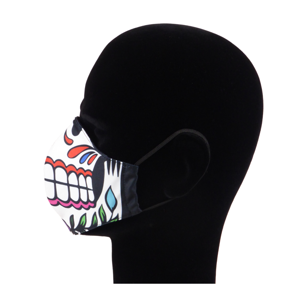 King Cobra Store 100% polyester mouth and face mask protection against dust pollen pollution or airborne covid 19 corona viruses elastic straps comfortable breathing and wearing reusable washable inspired by candy skull sugar skull Mexican celebration Day of the Dead Dia de Muertos All Souls Day Calaveras Pixar Coco movie film