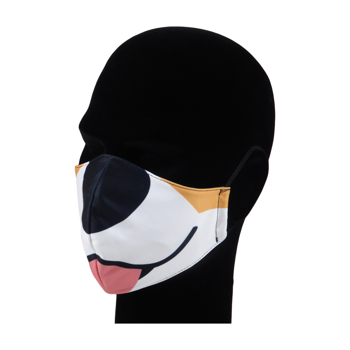 King Cobra Store 100% polyester mouth and face mask protection against dust pollen pollution or airborne covid 19 corona viruses elastic straps comfortable breathing and wearing reusable washable inspired by cartoon dog Sgt Stubby Sergeant Stubby stray dog Bull Terrier animated film World War I American Hero most decorated dog black mouth tongue black nose animal half face mask