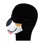 Load image into Gallery viewer, King Cobra Store 100% polyester mouth and face mask protection against dust pollen pollution or airborne covid 19 corona viruses elastic straps comfortable breathing and wearing reusable washable inspired by cartoon dog Sgt Stubby Sergeant Stubby stray dog Bull Terrier animated film World War I American Hero most decorated dog black mouth tongue black nose animal half face mask
