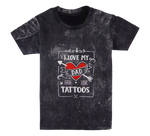 Load image into Gallery viewer, Cotton short sleeve kids T-shirt in black and stonewash with a unique King Cobra Store design inspired by I love my dad and his tattoos