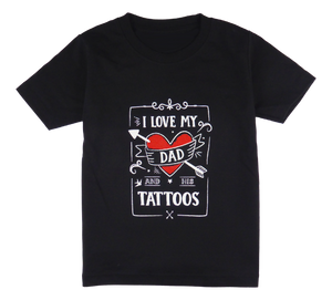 Cotton short sleeve kids T-shirt in black and stonewash with a unique King Cobra Store design inspired by I love my dad and his tattoos