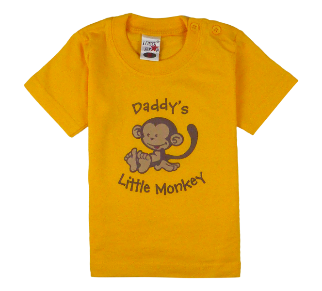 King Cobra Store cotton short sleeve kids T-shirt in yellow gold with a unique King Cobra Store design inspired by daddy's little monkey