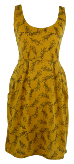 Load image into Gallery viewer, Cotton short one size fits all summer spring dress ( XS to L) with pattern and 2 pockets on both sides. Elastic strings at the back. Unique King Cobra Store design inspired by ferns in garden and wood