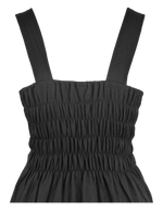 Load image into Gallery viewer, Plain black short cotton one size fits all summer spring dress ( XS to L) with 2 pockets on both sides. Elastic strings at the back. Unique King Cobra Store design inspired by metal music black