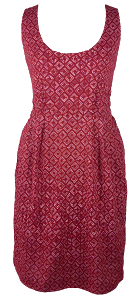 Cotton short one size fits all summer spring dress ( XS to L) with pattern and 2 pockets on both sides. Elastic strings at the back. Unique King Cobra Store design inspired by optic squares
