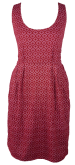 Load image into Gallery viewer, Cotton short one size fits all summer spring dress ( XS to L) with pattern and 2 pockets on both sides. Elastic strings at the back. Unique King Cobra Store design inspired by optic squares