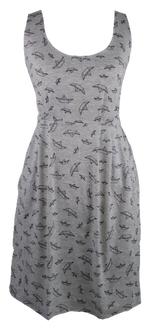 Load image into Gallery viewer, Cotton short one size fits all summer spring dress ( XS to L) with pattern and 2 pockets on both sides. Elastic strings at the back. Unique King Cobra Store design inspired by origami paper boats