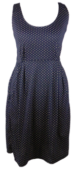 Load image into Gallery viewer, Cotton short one size fits all summer spring dress ( XS to L) with pattern and 2 pockets on both sides. Elastic strings at the back. Unique King Cobra Store design inspired by a pattern of polka dots