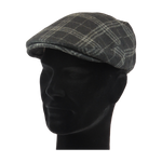 Load image into Gallery viewer, King Cobra Store flat cap color black grey checked tartan platte pet modern shape hat 1900 1910 timeless Brixton Oslo cap Barts Stetson Dickies Ted Baker Profuomo Texas flat cap Tucson Hooligan Peaky Blinders Gatsby all seasons autumn winter spring basic streetwear rockabilly tattoo vintage casual wool tweed plain tartan striped check checked pattern herringbone visgraat motief patroon size 55 56 57 58 59 60