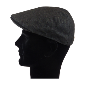 King Cobra Store flat cap color dark grey black large herringbone visgraat platte pet modern shape hat 1900 1910 timeless Brixton Oslo cap Barts Stetson Dickies Ted Baker Profuomo Texas flat cap Tucson Hooligan Peaky Blinders Gatsby all seasons autumn winter spring basic streetwear rockabilly tattoo vintage casual wool tweed plain tartan striped check checked pattern herringbone visgraat motief patroon size 55 56 57 58 59 60