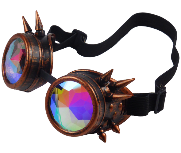 King Cobra Store rusty bronze gold and silver steampunk cyber vintage goggle glasses with diamond crystal lenses and spikes and adjustable elastic headband inspired by Mad Max, Burning Man, Victorian Style for cosplay, LARP and raves