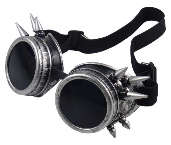 King Cobra Store rusty bronze and silver steampunk cyber vintage goggle glasses with black transparent lenses and spikes and adjustable elastic headband inspired by Mad Max, Burning Man, Victorian Style for cosplay, LARP and raves