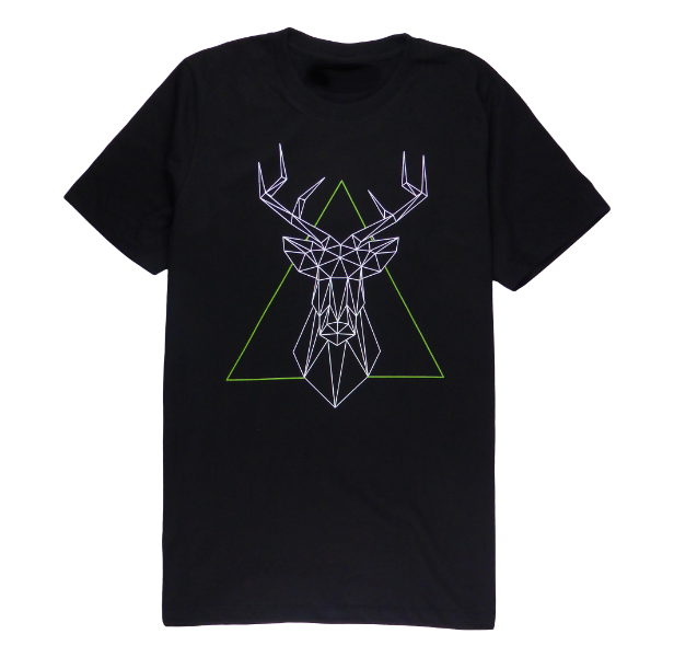 Cotton short sleeve man T-shirt in black color with a unique King Cobra Store design inspired by geometrical geo deer