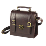 Load image into Gallery viewer, Retro vintage 1950s messenger in black dark brown light brown red and green PU with leather look water resistant detachable shoulder strap decorative bow and buckle closure magnetic button closure inner organizing pockets with zipper and cellphone holder pen holder