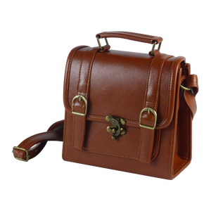 Retro vintage 1950s messenger in black dark brown light brown red and green PU with leather look water resistant detachable shoulder strap decorative bow and buckle closure magnetic button closure inner organizing pockets with zipper and cellphone holder pen holder