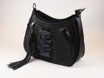 Load image into Gallery viewer, King Cobra Store rock and metal handbag in black with corset ribbon detail detachable shoulder strap inner organizing pockets with zipper and cellphone holder  extendable depth by 2 zippers on front and backside.