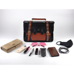 Load image into Gallery viewer, Retro vintage 1950s messenger handbag in black brown light brown PU with leather look water resistant detachable shoulder strap decorative bow and buckle closure magnetic button closure zip closure inside inner organizing pockets with zipper and cellphone holder pen holder