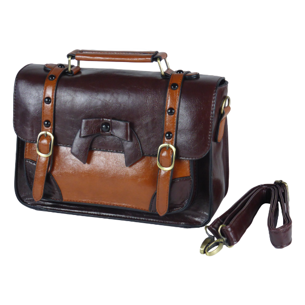 Retro vintage 1950s messenger handbag in black brown light brown PU with leather look water resistant detachable shoulder strap decorative bow and buckle closure magnetic button closure zip closure inside inner organizing pockets with zipper and cellphone holder pen holder