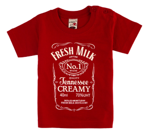 Cotton short sleeve kids T-shirt in black, blue, pink and red stonewash with a unique King Cobra Store design inspired by Jack Daniels bourbon whiskey fresh milk