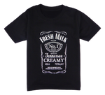 Load image into Gallery viewer, Cotton short sleeve kids T-shirt in black, blue, pink and red stonewash with a unique King Cobra Store design inspired by Jack Daniels bourbon whiskey fresh milk