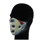 Load image into Gallery viewer, King Cobra Store 100% polyester mouth and face mask protection against dust pollen pollution or airborne covid 19 corona viruses elastic straps comfortable breathing and wearing reusable washable inspired by film movie Friday the 13th Jason Voorhees mask horror slasher hockey mask